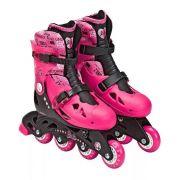 Patins Barbie Rosa Ajustável Do 33 A 36 C/ Kit De Segurança Capacete, Joelheiras e Cotoveleiras  - Fun