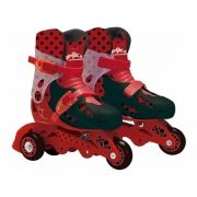 Patins Miraculous LadyBug Ajustável Do 29a 32 C/ Kit De Segurança Capacete, Joelheiras e Cotoveleiras  - Fun