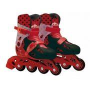 Patins Miraculous LadyBug Ajustável Do 33 a 36 C/ Kit De Segurança Capacete, Joelheiras e Cotoveleiras  - Fun
