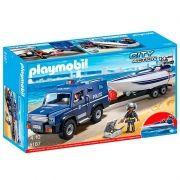 Playmobil City Action Caminhão Policia Com Lancha motorizada - Suny