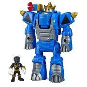Playskool Power Rangers Sabans - Black Ranger e Rhino Zord Converte 2 em 1  - Hasbro