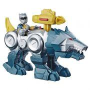 Power Rangers Sabans Playskool –Ranger Prata e Wolf Zord - Hasbro