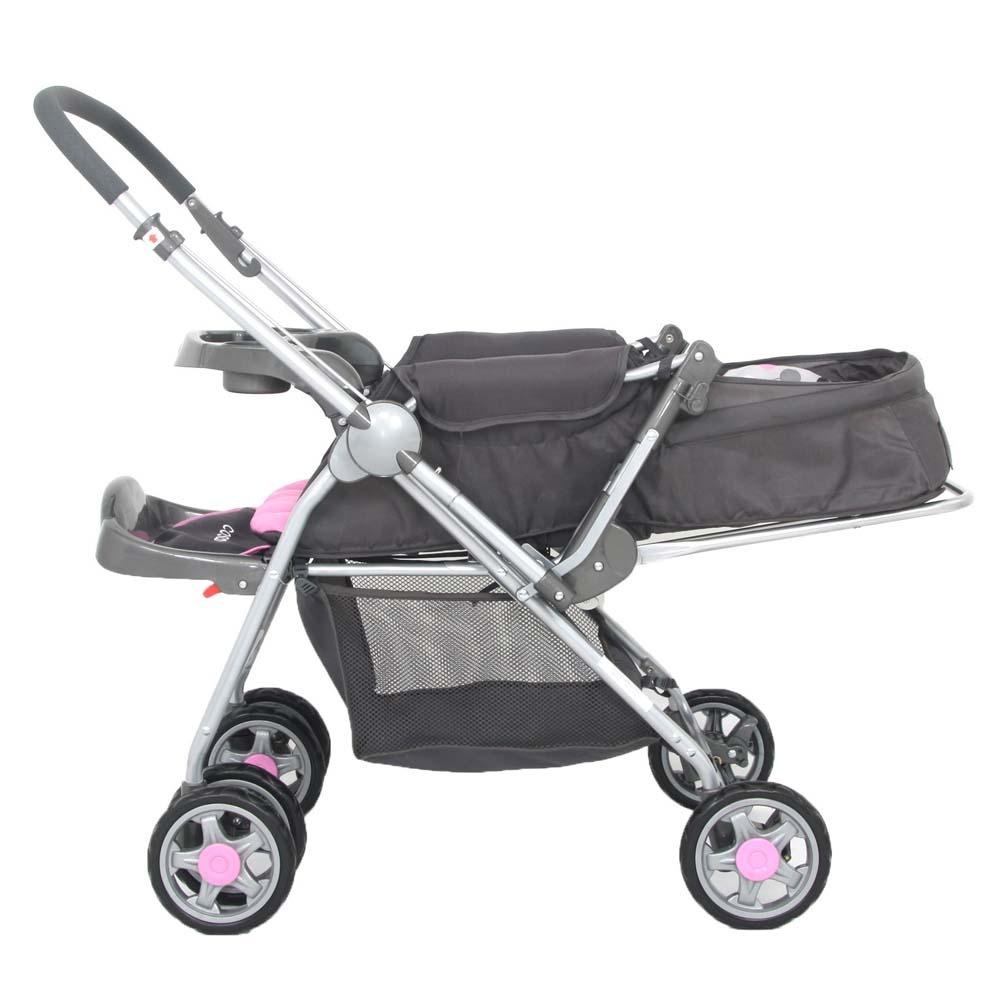 Carrinho Bebê System Reverse Deluxe + Bebê Conforto Rosa Cosco  - Doce Diversão