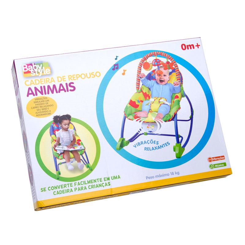 Cadeira Musical Vibratória Descanso C/ Móbile e Balanço Animais – Baby Style  - Doce Diversão