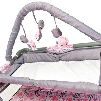Berço Cercado Desmontável  C/ Trocador e Mobile – Flores – Baby Style  - Doce Diversão