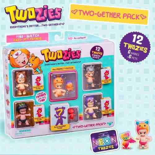 Twozies Blister C/ 12 Towzies Surpresas 6 Bebes + 6 Pets Dtc  - Doce Diversão