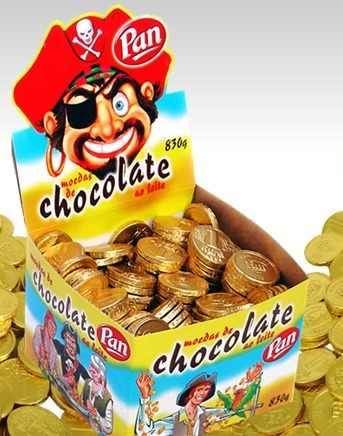Moeda Chocolate Pan Ao Leite 830 Gr C/ Aprox. 240 Unidades  - Doce Diversão