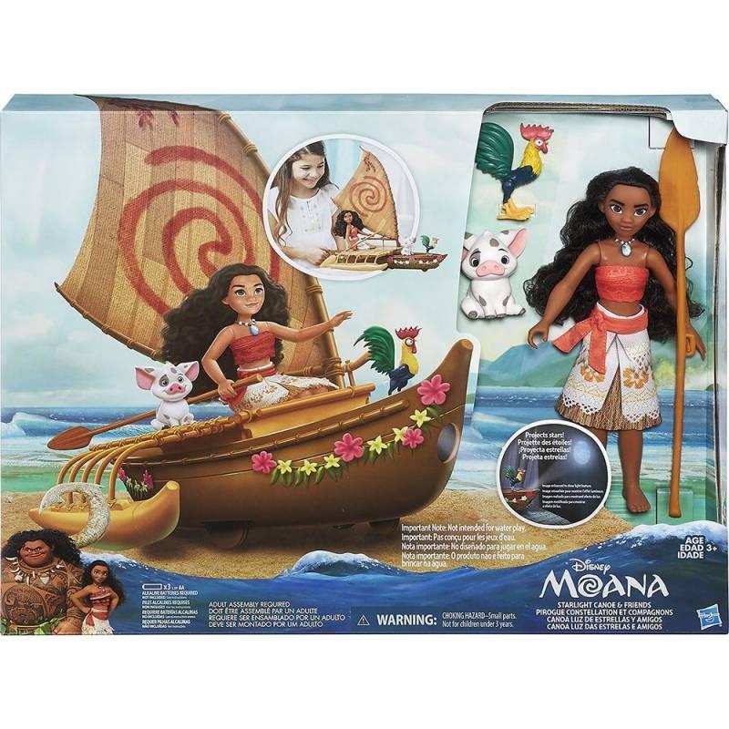 Boneca  Disney Moana e Amigos no Barco com Projetor Hasbro  - Doce Diversão