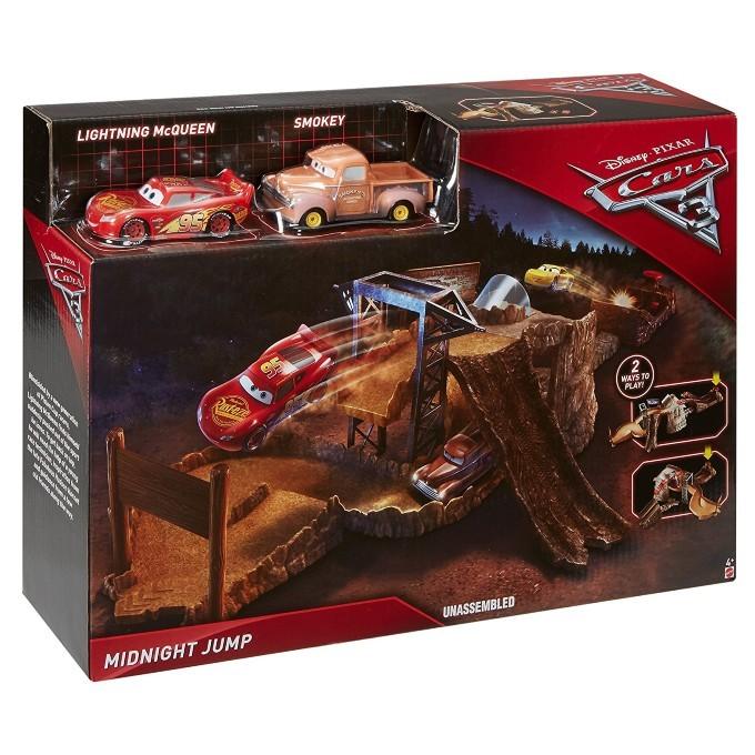Pista Carros 3 Disney   - Mega Salto  da Meia Noite C/2 veiculos - Mattel  - Doce Diversão