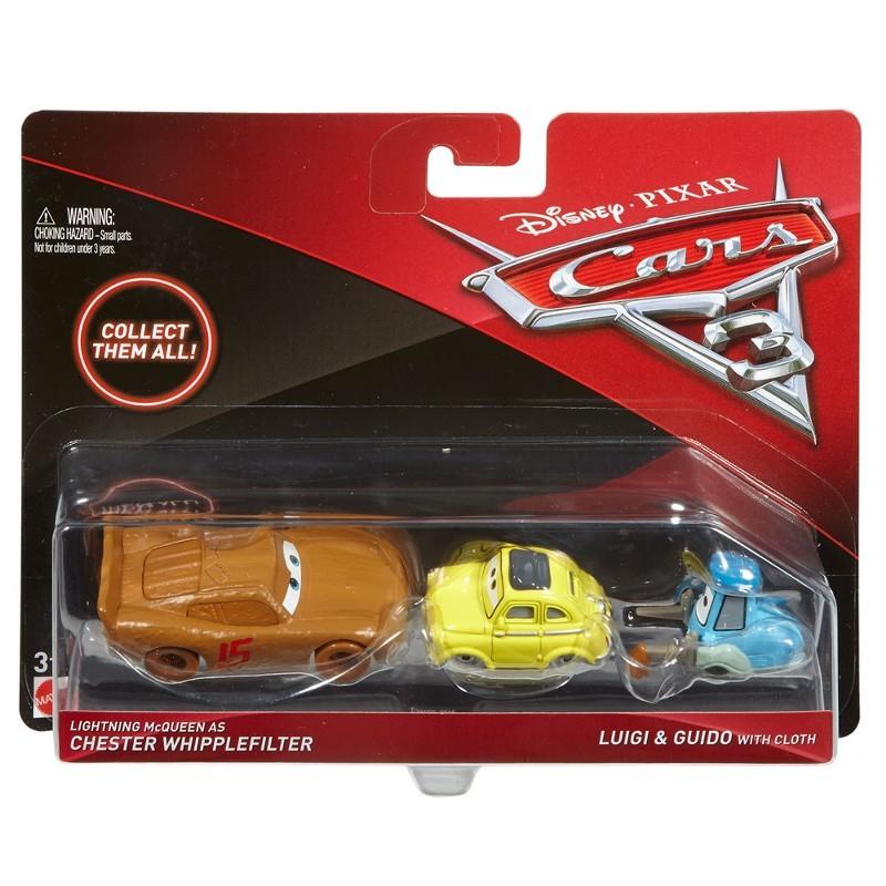 Carros 3 Disney - Die Cast  Pack C 3 Veículos - McQueen , Luigi e Guido – Mattel  - Doce Diversão