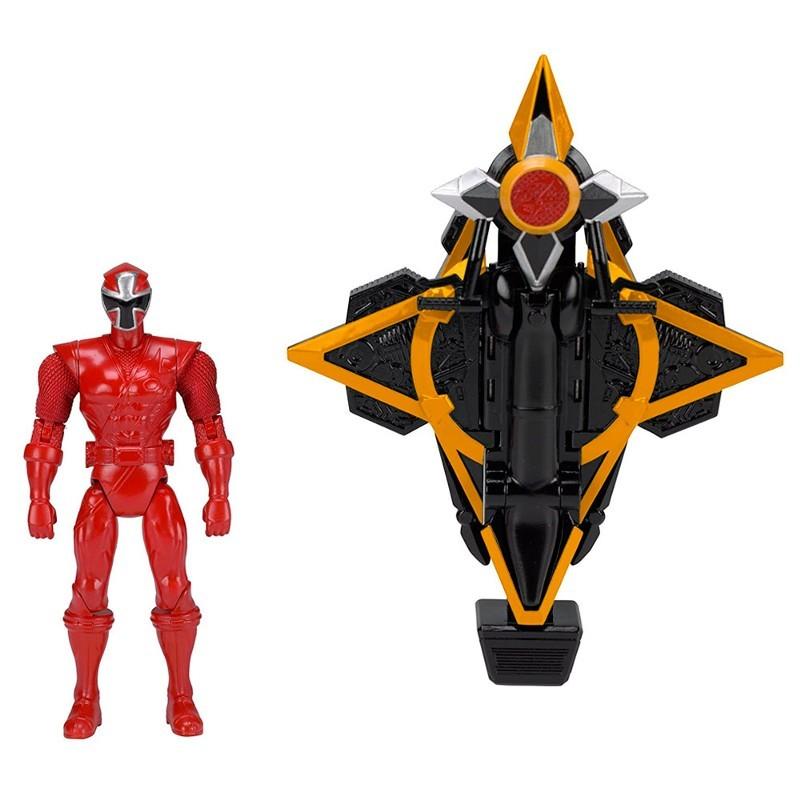 Power Rangers Ninja Steel Veiculo Morfador + ranger Vermelho 15 cm - Sunny  - Doce Diversão