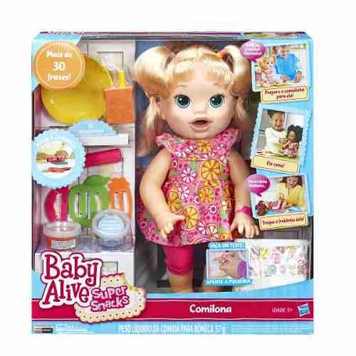 Baby Alive Comilona -Come Verdade- Loira -30 Frases - Hasbro  - Doce Diversão