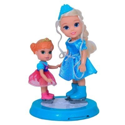 Frozen Disney Patinadora Elsa 15 Cm + Anna 10 Cm - Sunny  - Doce Diversão