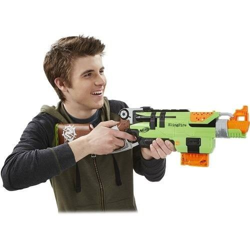 Nerf Strike Zombie Slingfire -lançador Com Alavanca - Hasbro  - Doce Diversão