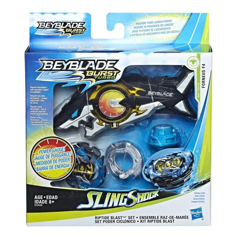 Bey Blade Turbo Sling Shock Deluxe Medidor Potência –  2 modos batalha - Forneus F4 Hasbro  - Doce Diversão