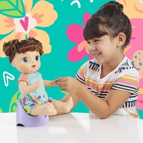 Boneca Baby Alive 1 Peniquinho Morena 50 sons Portugues - Hasbro  - Doce Diversão