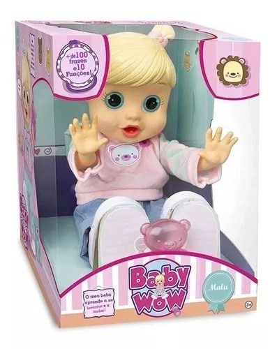 Boneca Baby Wow Malu Interativa + 100 frases Portugues + 10 Funções Multikids   - Doce Diversão