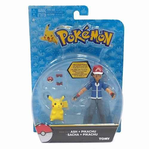 Boneco Pokémon Ash + pikachu + pokebola pokedex Figura Articulado Tomy  - Doce Diversão