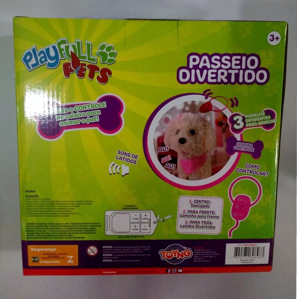 Cachorrinho Branco Play Full Pets Coleira Com Controle - Anda e Late- Toyng  - Doce Diversão