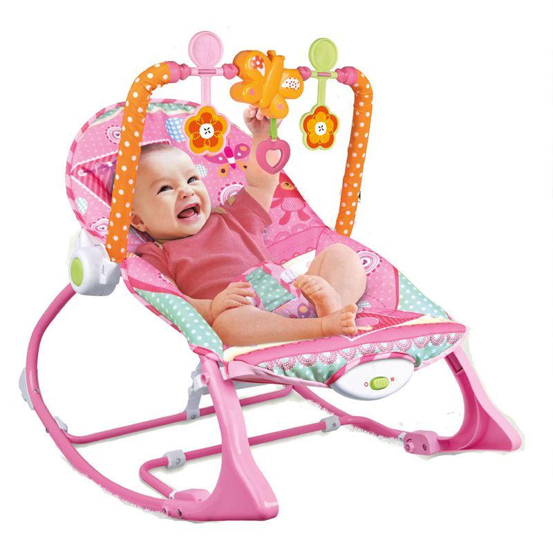 Cadeira Repouso Balanço Musical Vibratória Móbile 18kg Rosa Baby Style  - Doce Diversão