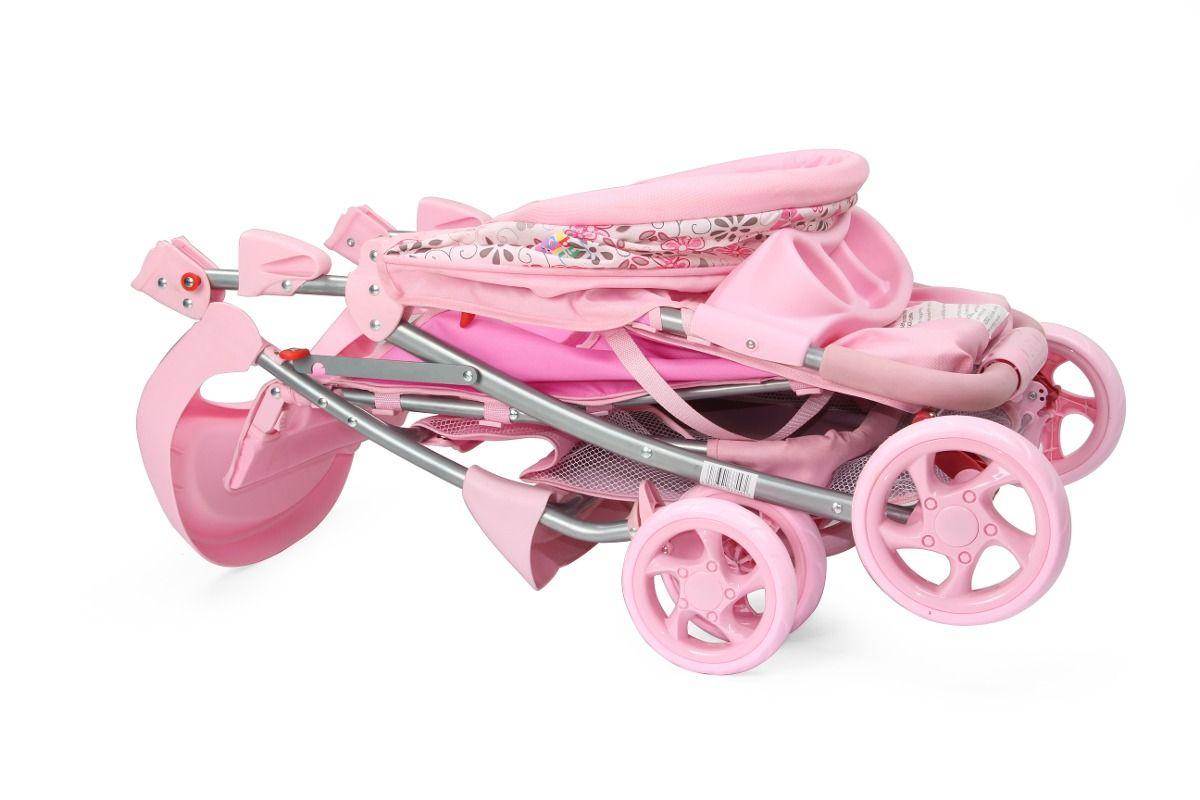Carrinho de Bebê Passeio Esmeralda Reclinavel Rosa ate 15 kg Baby Style  - Doce Diversão