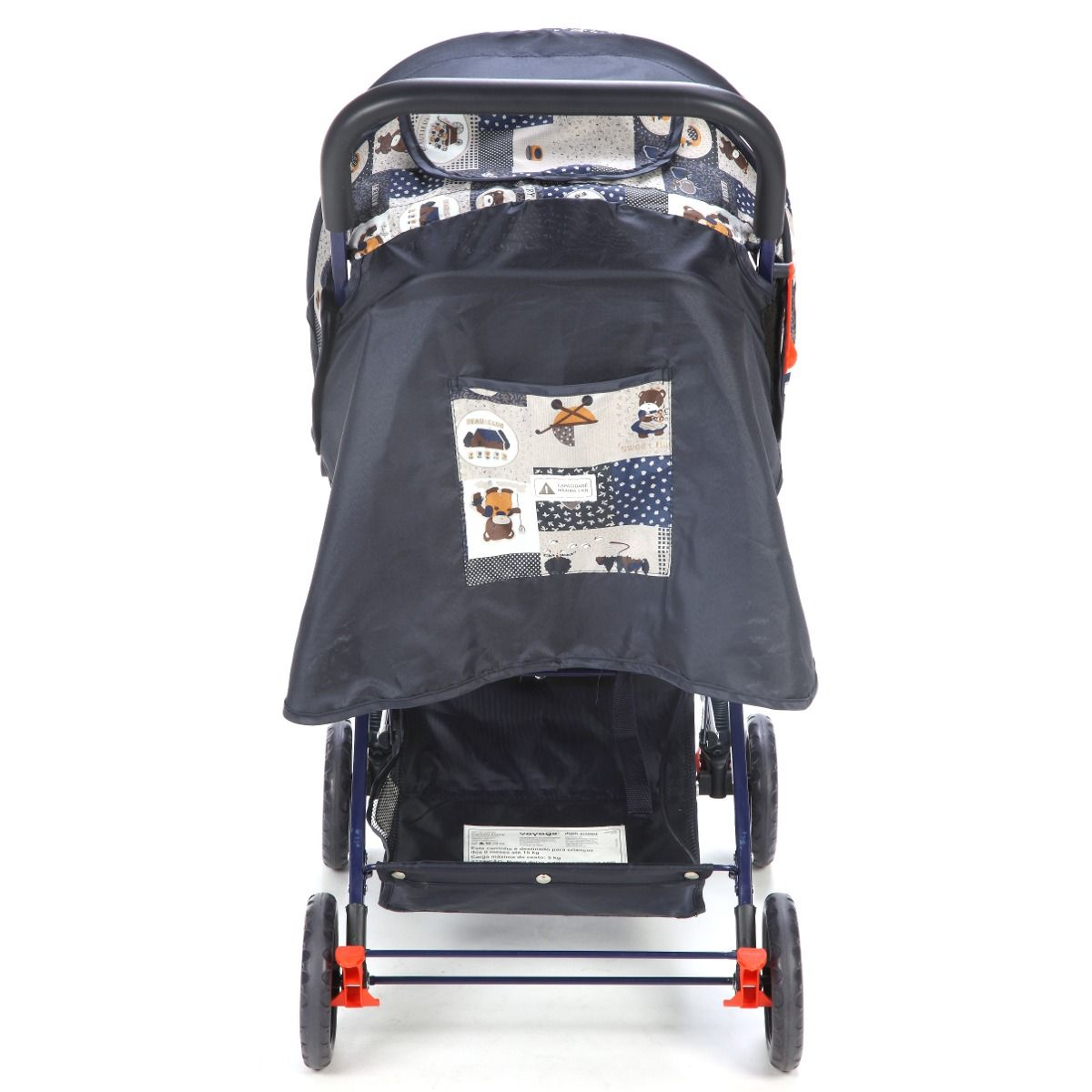 Carrinho de bebê vira Berço Reclinavel 3 posiçoes Funny Voyage Azul  - Doce Diversão