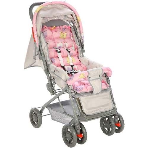 Carrinho de bebê vira Berço Reclinavel 3 posiçoes Funny Voyage Rosa  - Doce Diversão