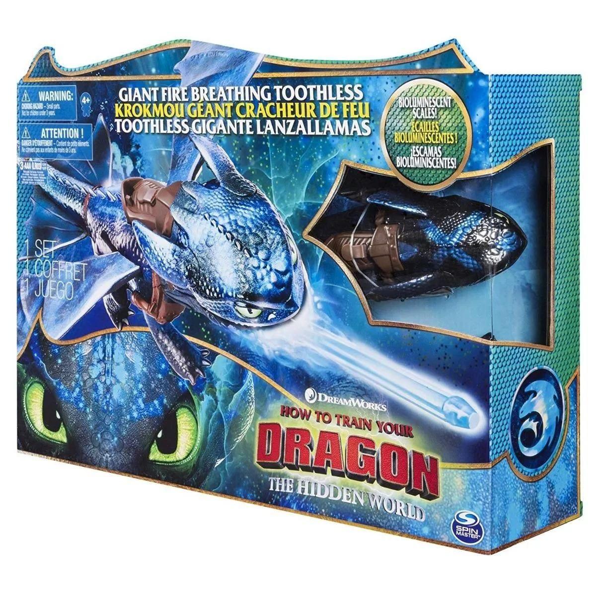 Como Treinar Seu Dragão 3 Banguela Luxo C Luz,fumaça, Projeteis 50 cm Sunny  - Doce Diversão