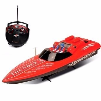 Lancha Corrida Radio Controle Aqua Thunder Vermelho - DTC  - Doce Diversão