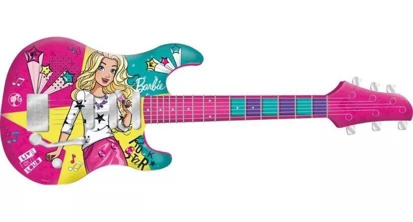 Guitarra Infantil Barbie Fabulosa Luxo -  Conecta com Smartphone  - Fun  - Doce Diversão