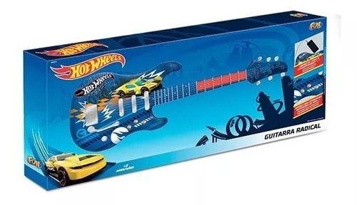 Guitarra Infantil Radical Hot Wheels Luxo -  Conecta com Smartphone  - Fun  - Doce Diversão