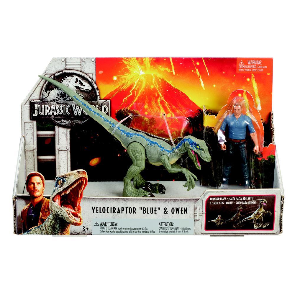 Jurassic World 2 – Conjunto Aventura – Velociraptor Blue + Owen – Mattel  - Doce Diversão