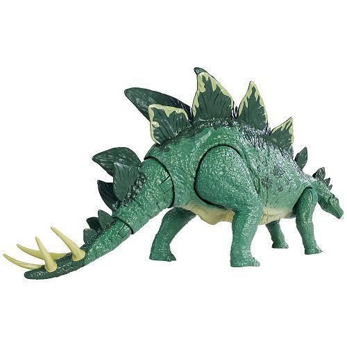 Jurassic World Ataque Acão Stegosaurus Articulado – botão ataque cauda - Mattel  - Doce Diversão