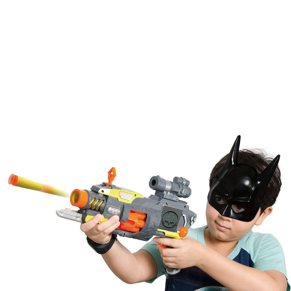 Kit Super Lançador Automático Tambor Giratorio E Máscara Batman - Rosita  - Doce Diversão