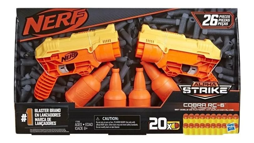 Lançador Nerf Alpha Strike Cobra RC-6 Duplo - Com 2 Nerf 20 dardos e Alvos – Hasbro  - Doce Diversão