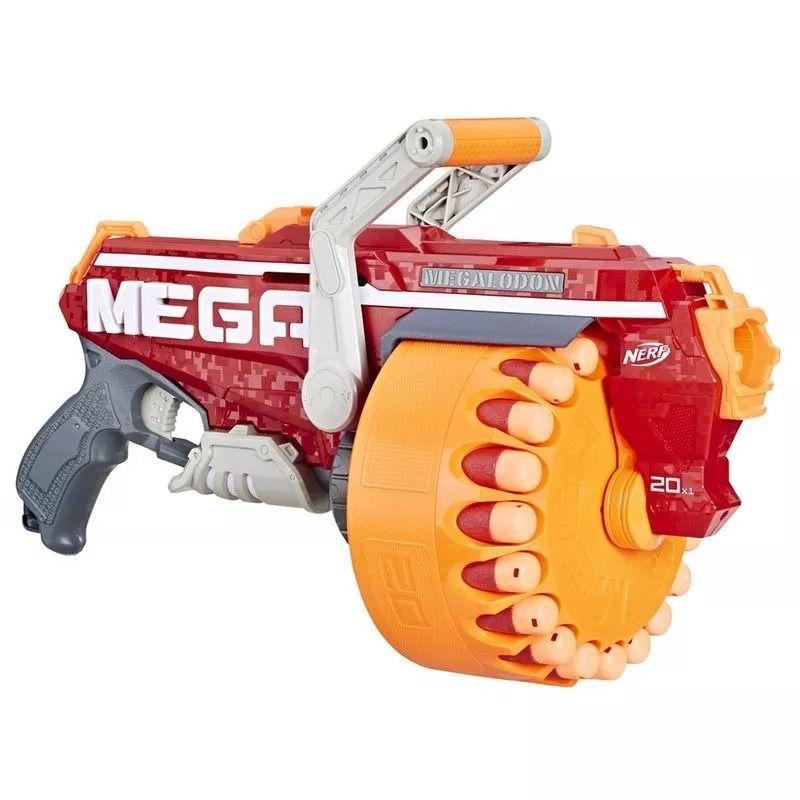 Lançador Nerf Strike Mega Megalodon- Tambor Giratório 20 dardos - Hasbro  - Doce Diversão