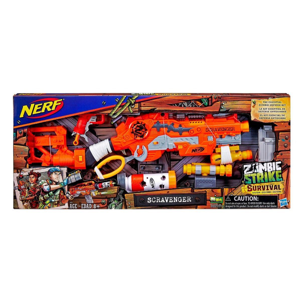 Lançador Nerf Zombie Strike Survival Scravenger Hasbro   - Doce Diversão