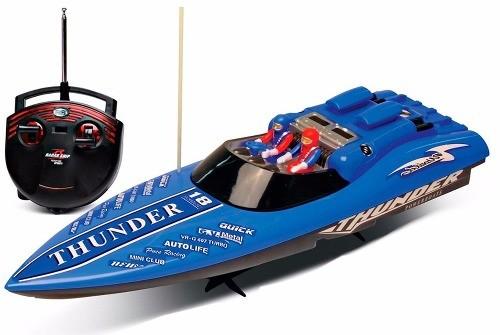Lancha Corrida Radio Controle Aqua Thunder Azul - DTC  - Doce Diversão