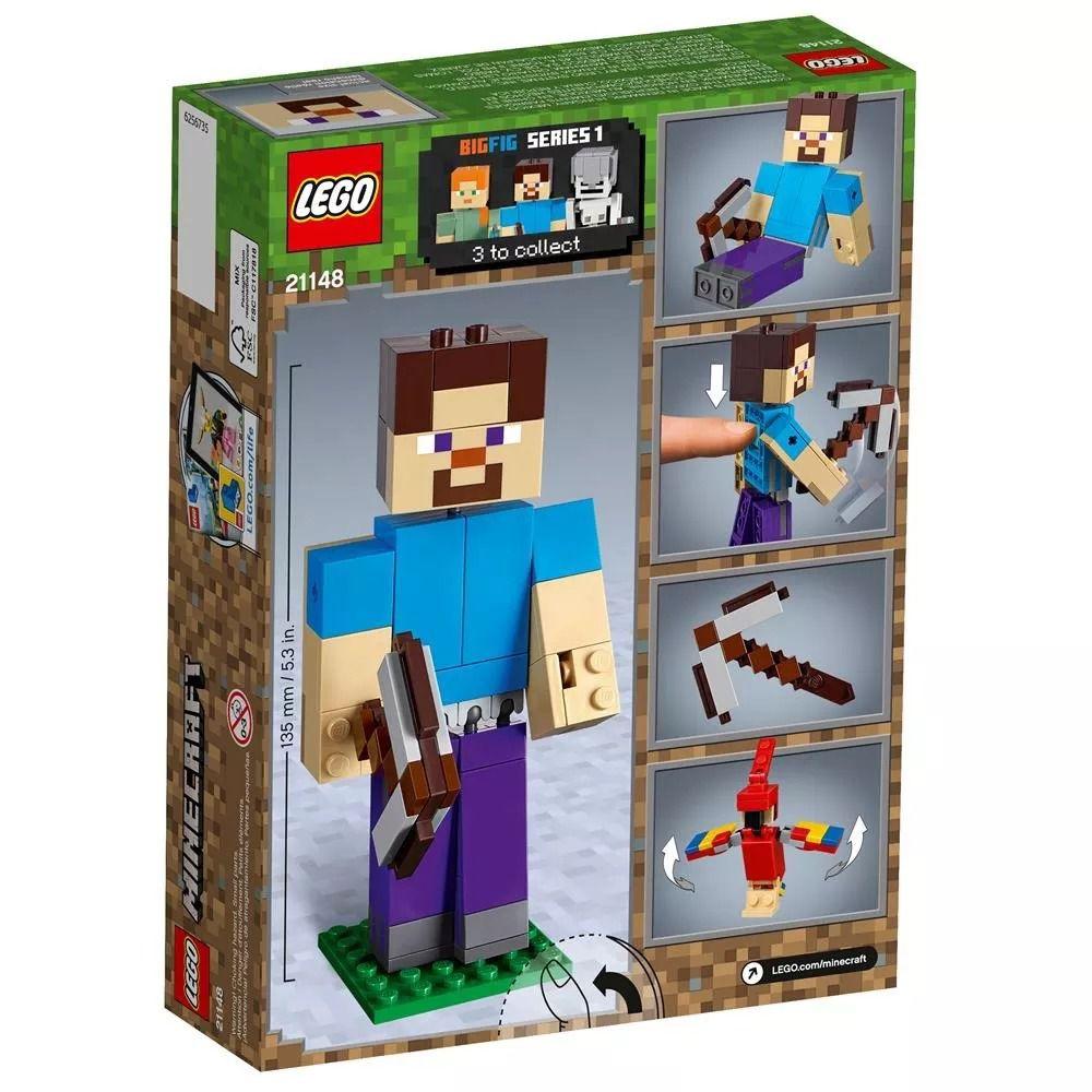 Lego 21148 Minecraft  - Bigfig Steve Com Papagaio  - 159 peças  - Doce Diversão