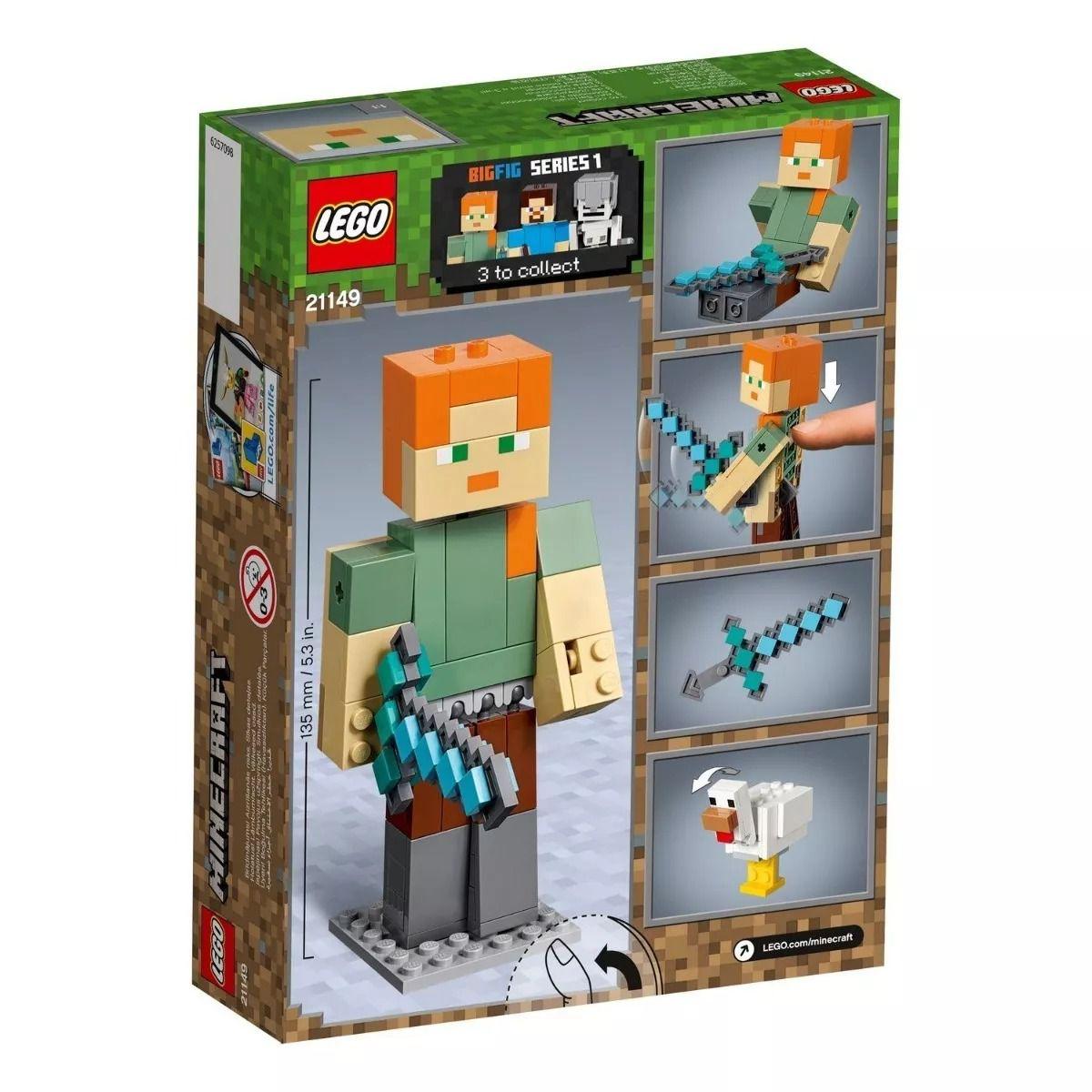 Lego 21149 Minecraft  - Bigfig - Alex Gigante E Galinha  - 160 peças  - Doce Diversão