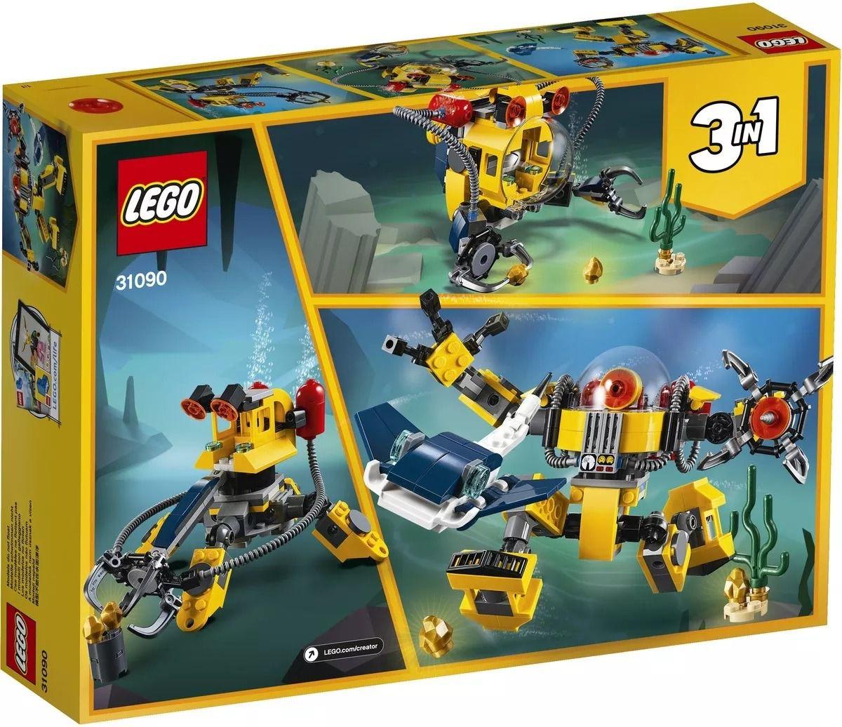 Lego 31090 Creator - 3 Em 1 - Robôs Subaquáticos – 207 peças  - Doce Diversão