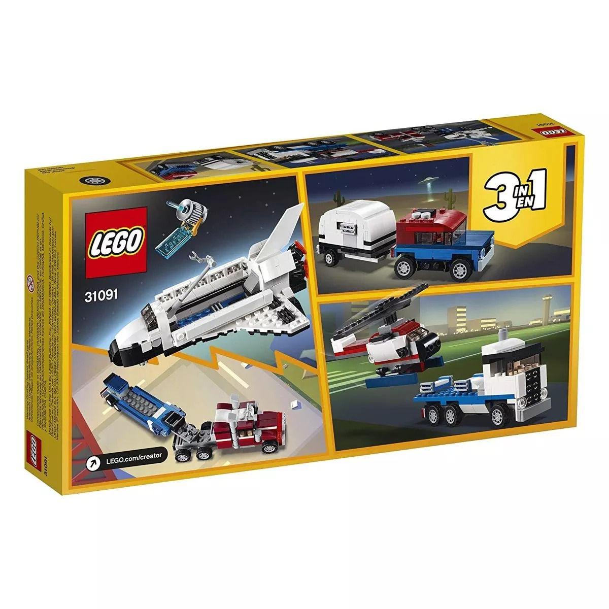 Lego 31091 Creator - 3 Em 1 – Caminhão Transportador e Ônibus Espacial – 341 peças  - Doce Diversão