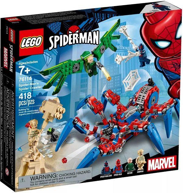 Lego 76114 – Spider Man Aranha Robô Vs Abutre e Homem Areia  – 418 peças  - Doce Diversão