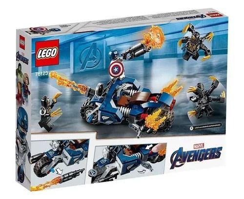 Lego 76123 Vingadores Ultimato – Capitão América Moto Ataque Outriders – 167 peças  - Doce Diversão