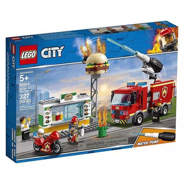 Lego City 60214 Bombeiros Caminhão Combate Fogo No Bar de Hamburgueres – 327 peças  - Doce Diversão