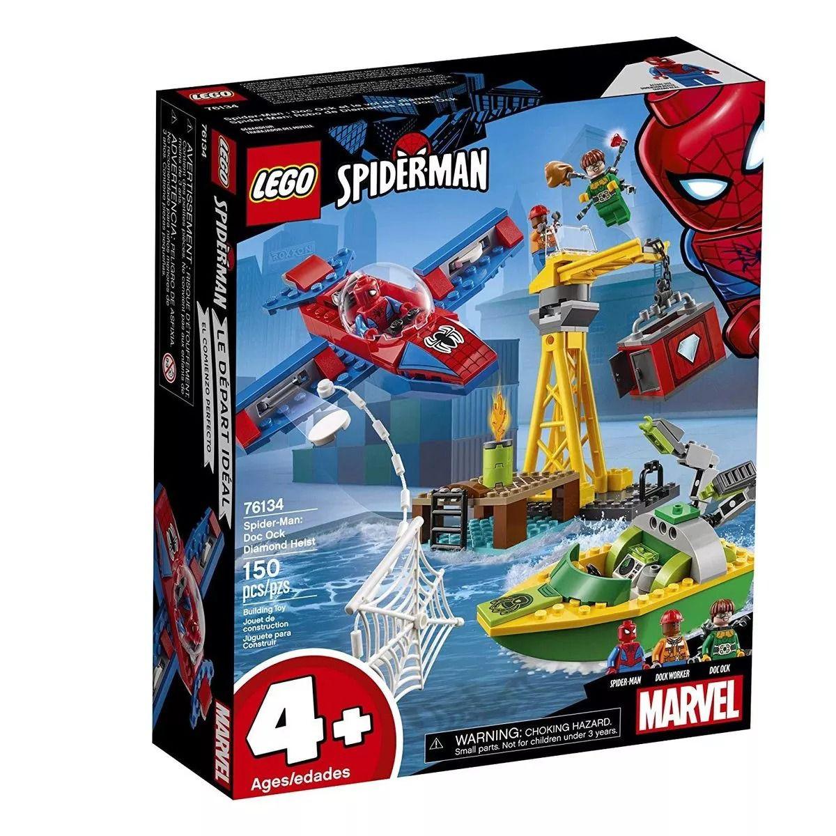 Lego Heroes 76134 - Homem Aranha Assalto Aos Diamantes Doutor Octopus – 150 peças  - Doce Diversão