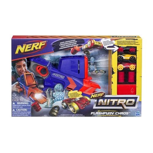 Nerf Nitro Flashfury Chaos – lançador com 3 carros - Hasbro  - Doce Diversão
