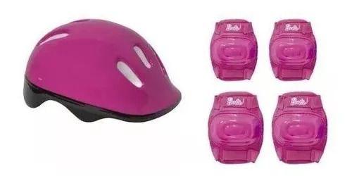 Patins Barbie Rosa Ajustável Do 29 A 32 C/ Kit De Segurança Capacete, Joelheiras e Cotoveleiras  - Fun  - Doce Diversão