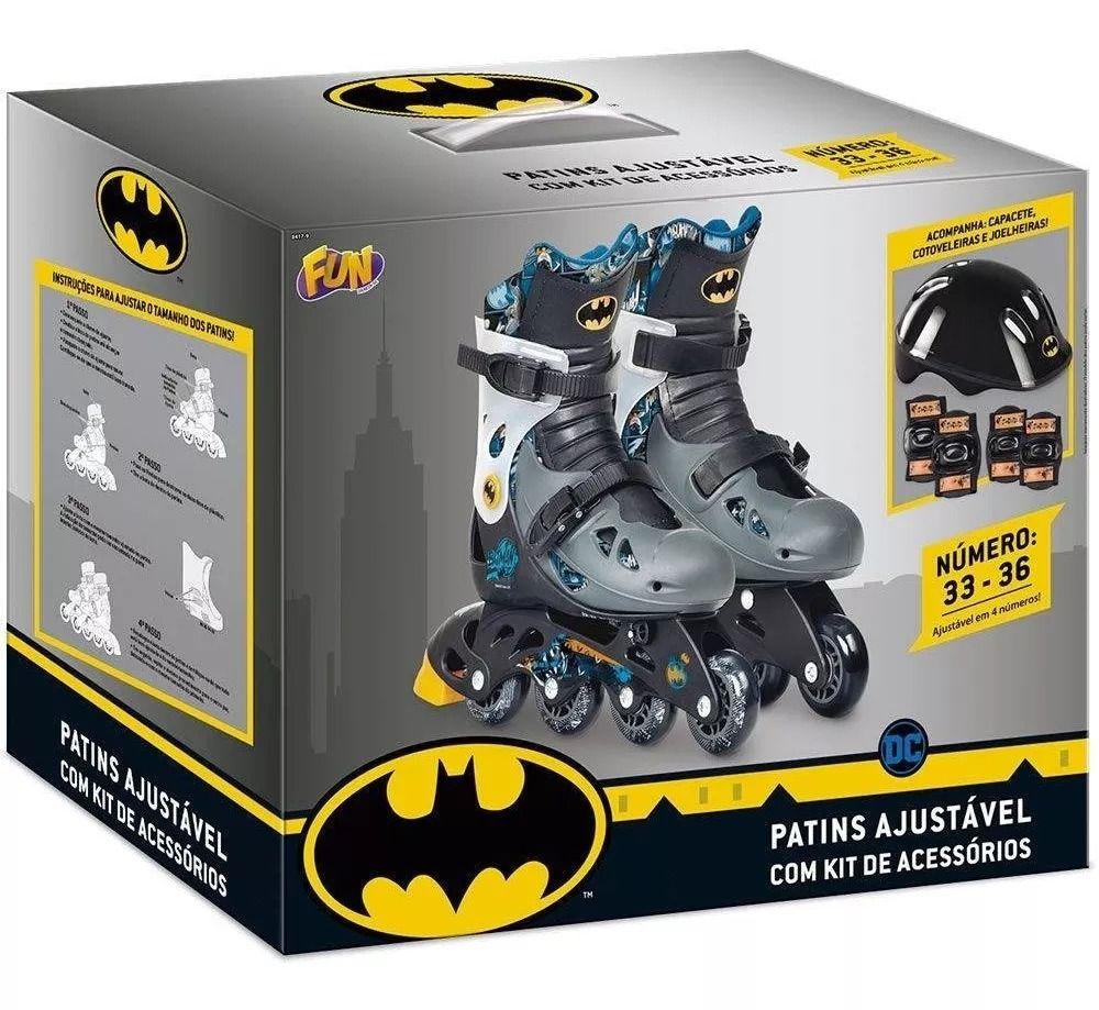 Patins Batman Ajustável Do 33 a 36 C/ Kit De Segurança Capacete, Joelheiras e Cotoveleiras  - Fun  - Doce Diversão