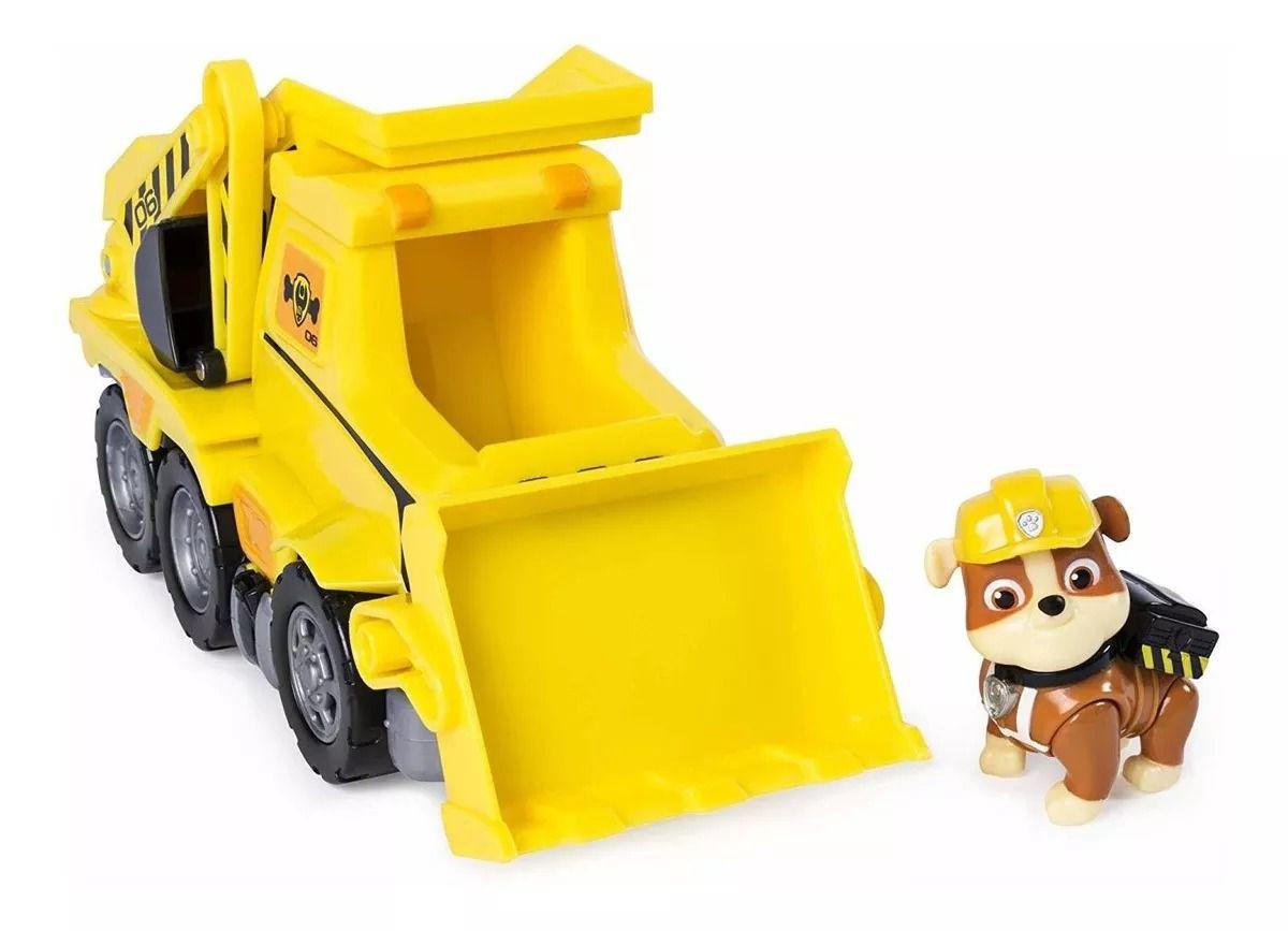 Patrulha Canina Ultimate Resgate Extremo - Rubble Bulldozer Veículo com Figura - Sunny   - Doce Diversão